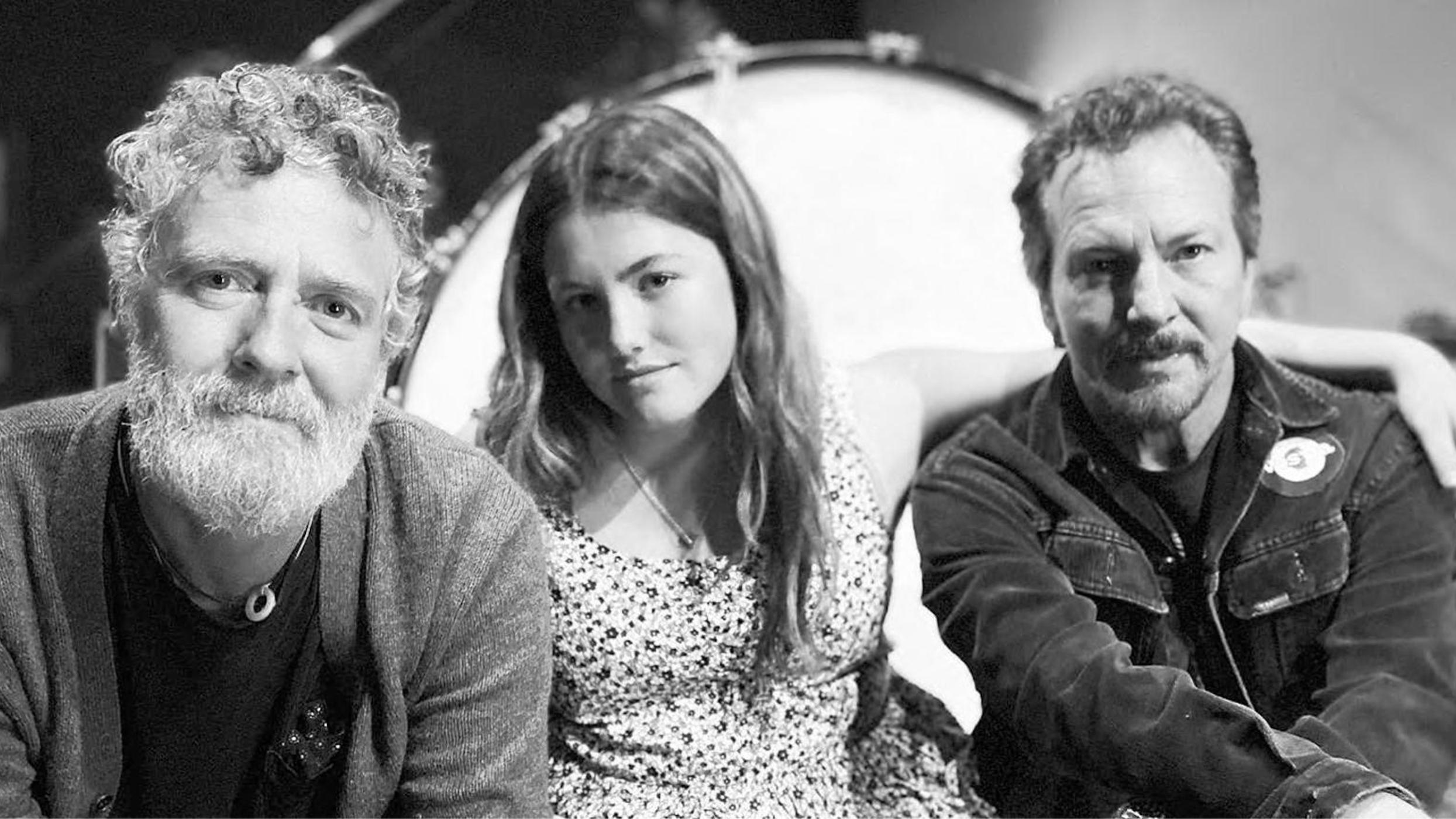 Eddie and Olivia Vedder, with Glen Hansard