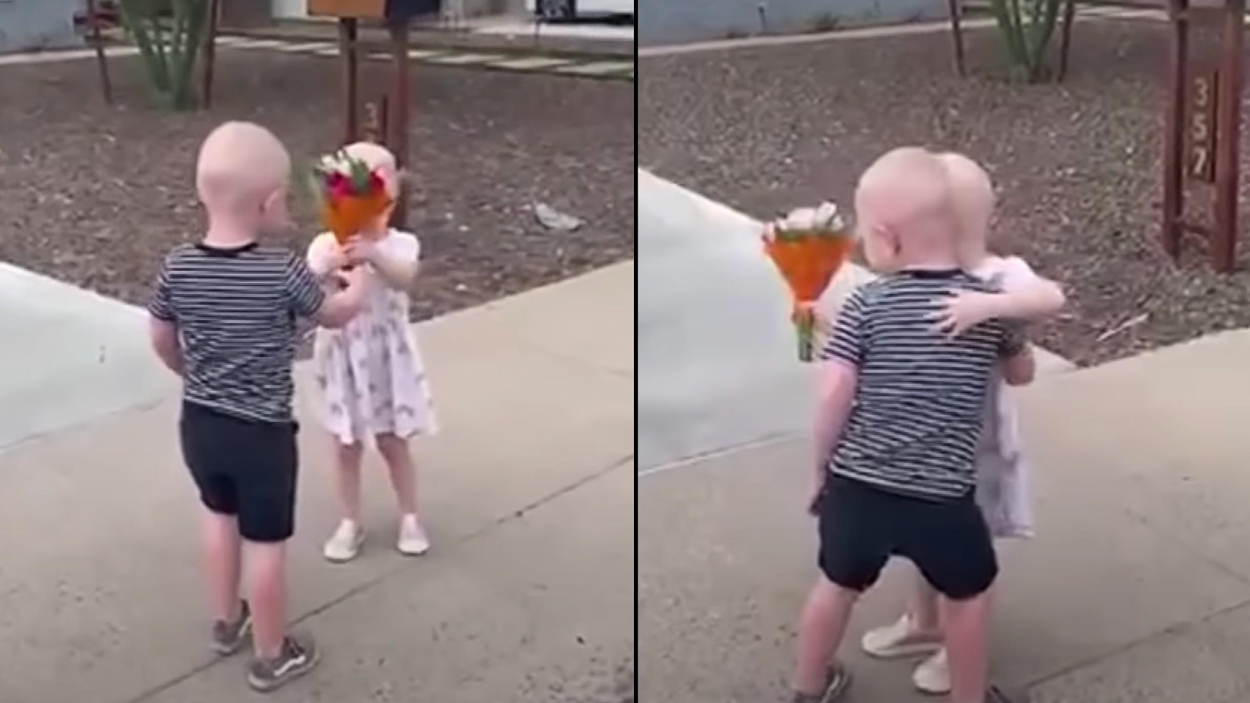 3-year-olds reunite outside of hospital after battling cancer