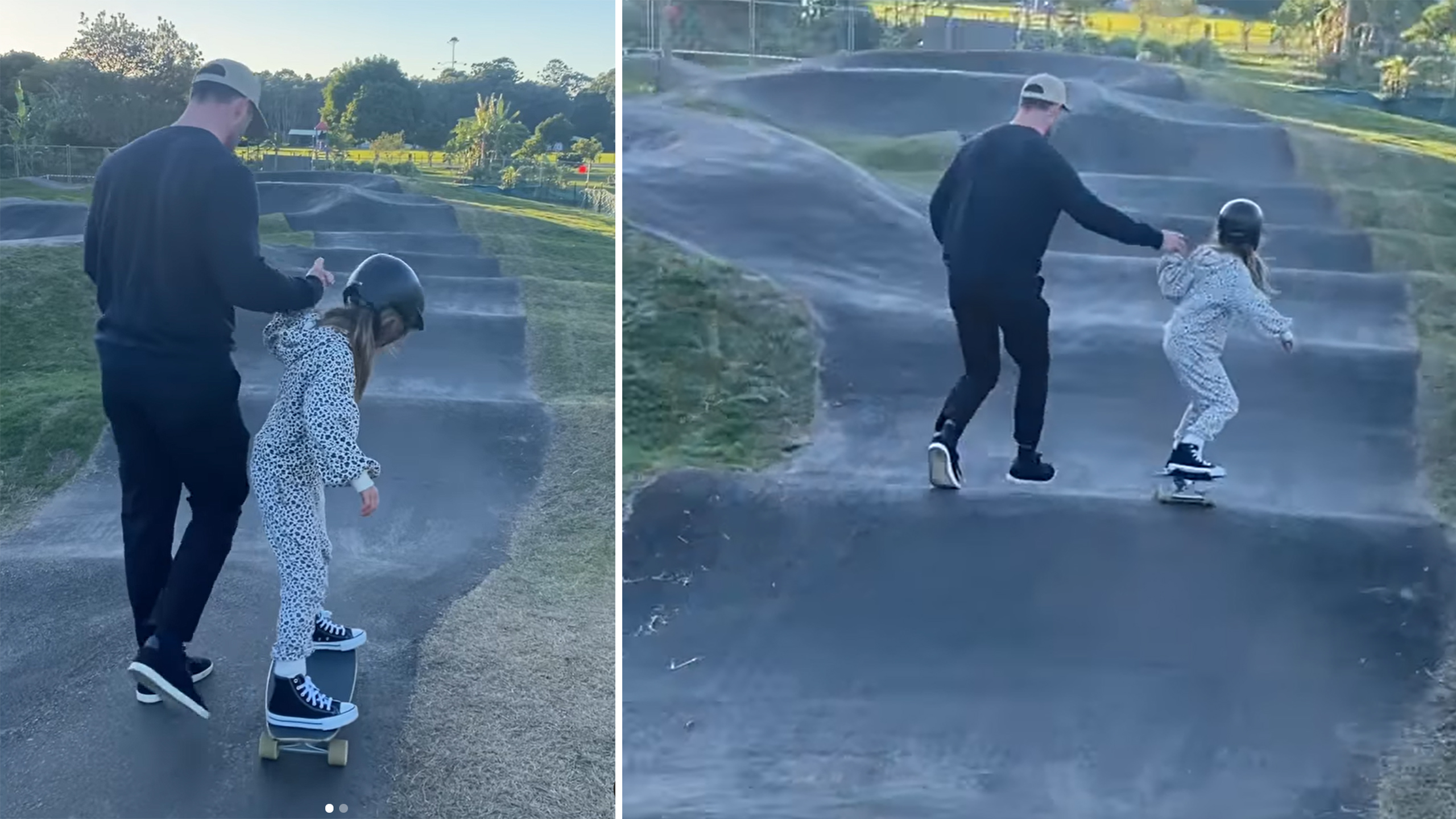 Hemsworth holds daughters hand while skateboarding