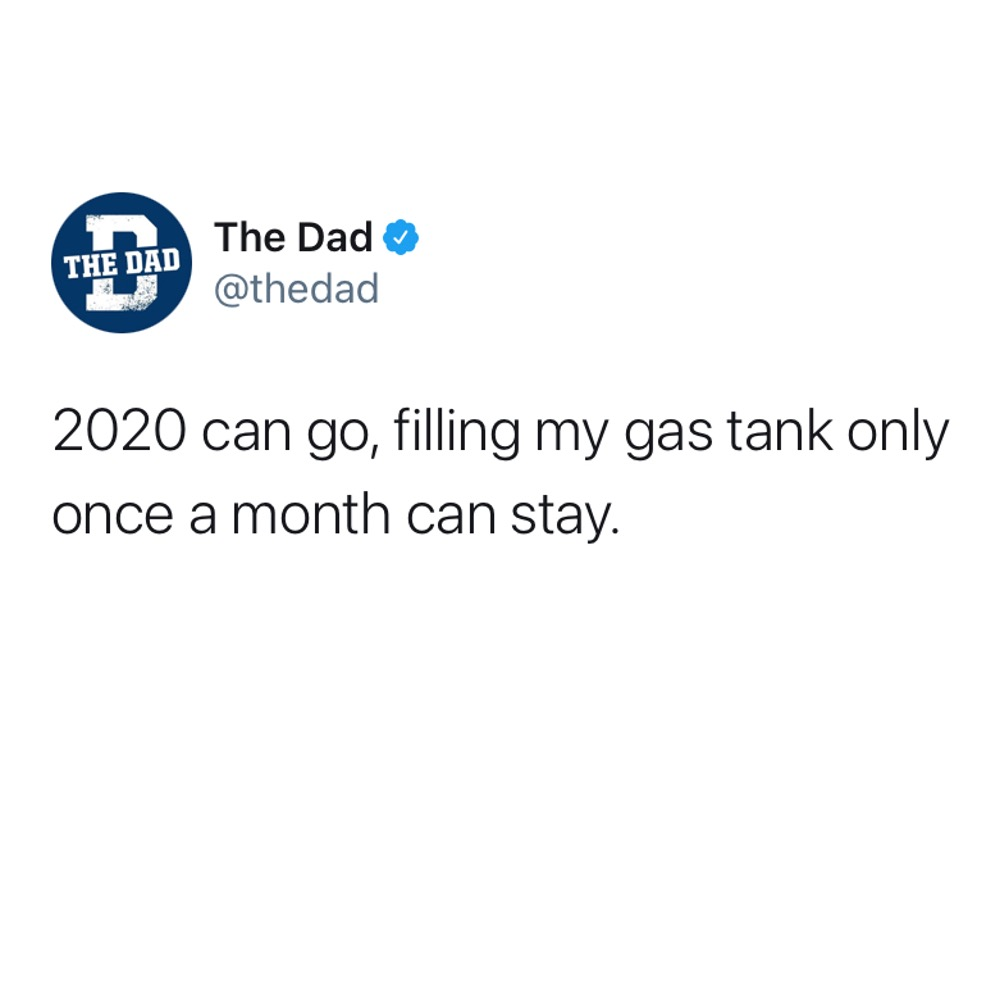 2020 can go, filling my gas tank only once a month can stay. Tweet, car, efficient