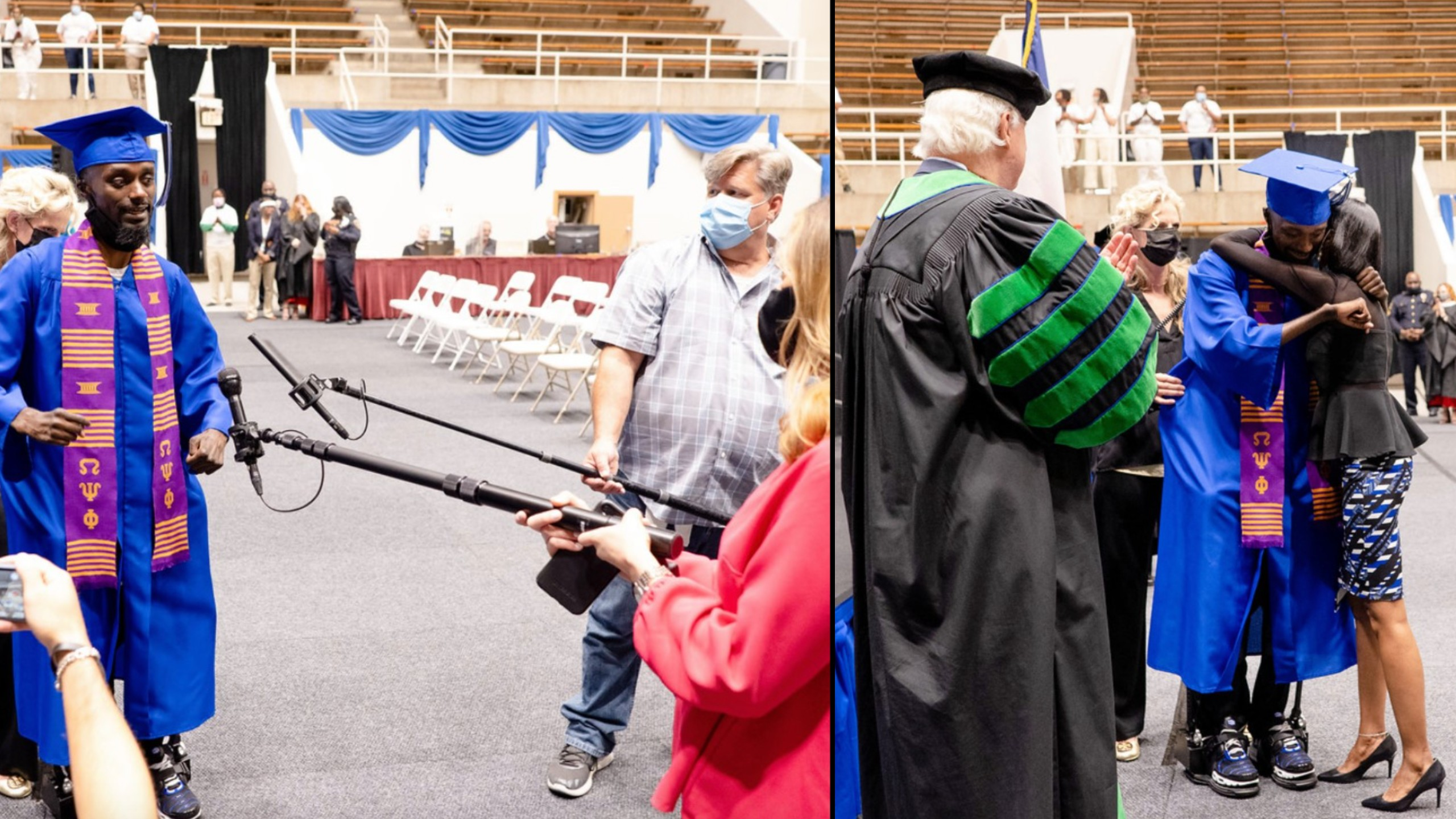 Paralyzed former football player walks at college graduation