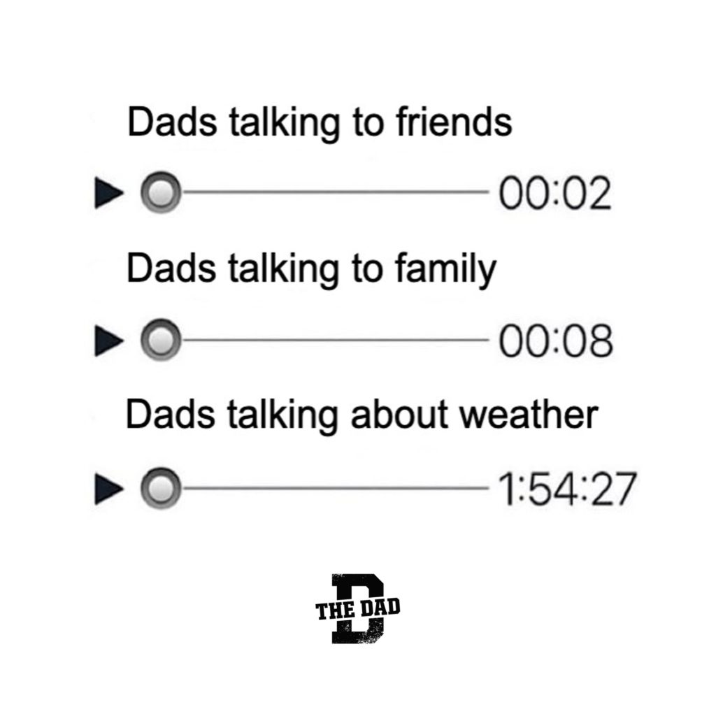 Dads talking to friends (00:02). Dads talking to family (00:08). Dads talking about weather (1:54:27). Nature, meme, hobby