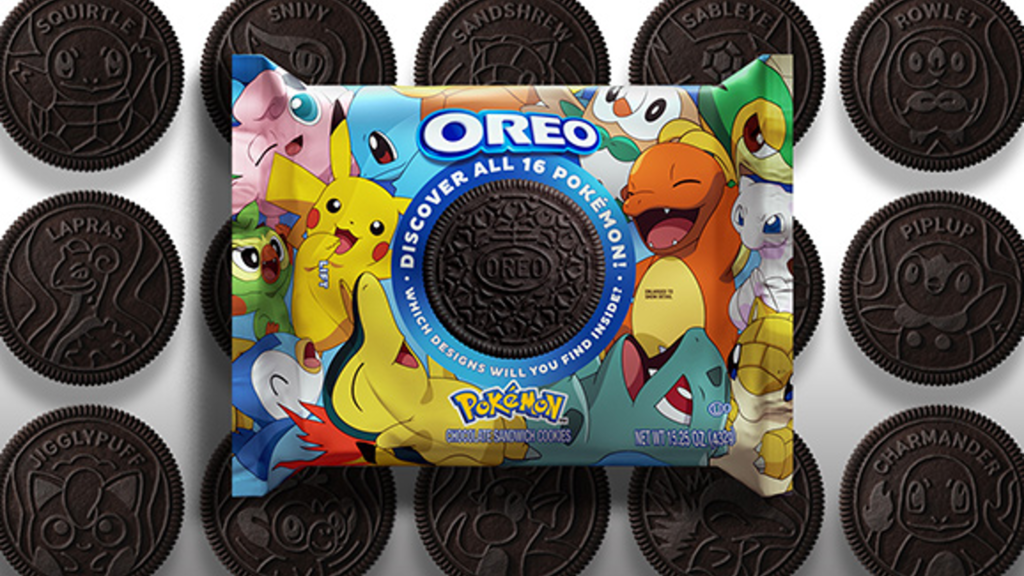 A package of Pokemon oreos laying on top of the cookies themselves