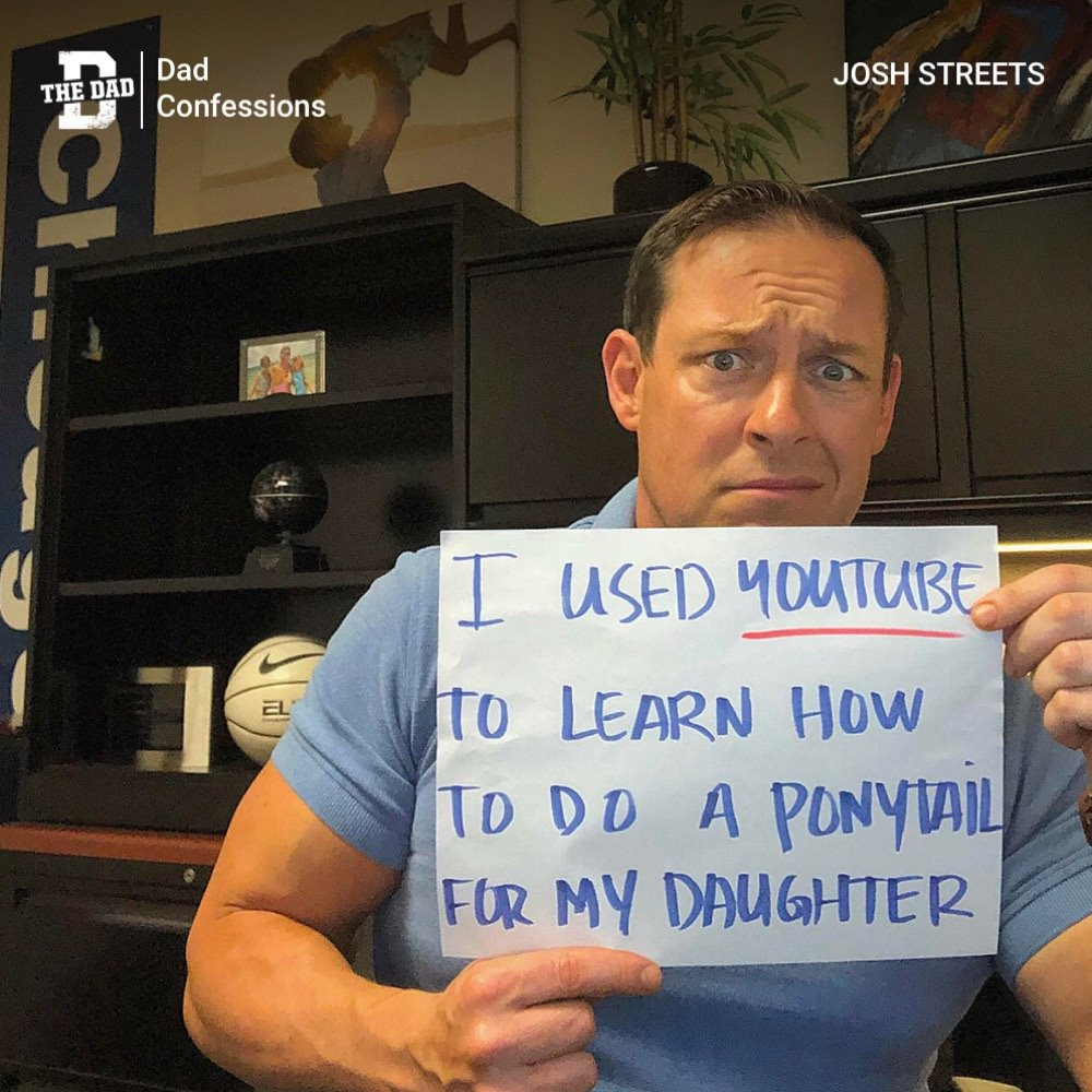 """Sign: """"I used YouTube to learn how to do a ponytail for my daughter."""" Confession, hair, education"""