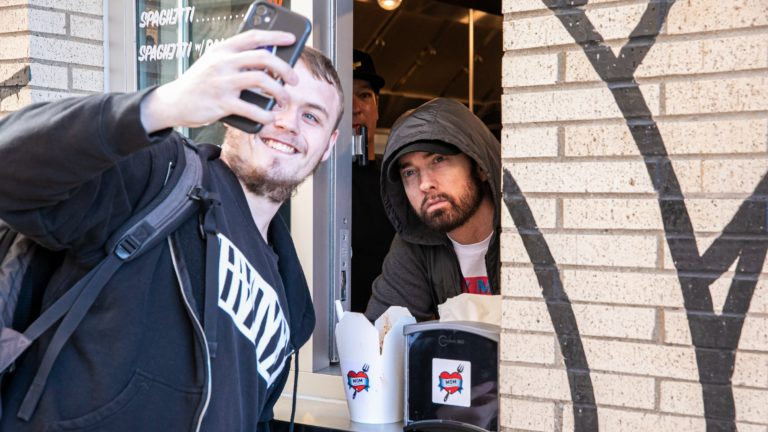 Eminem surprises fans at grand opening of Mom's Spaghetti