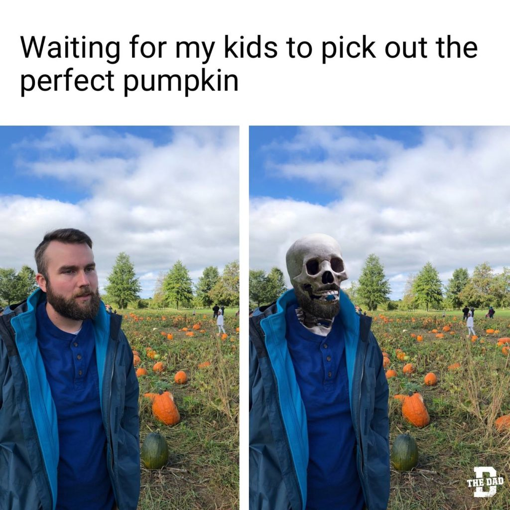Waiting for my kids to pick out the perfect pumpkin. (Turns to skeleton). Meme, fall, Halloween